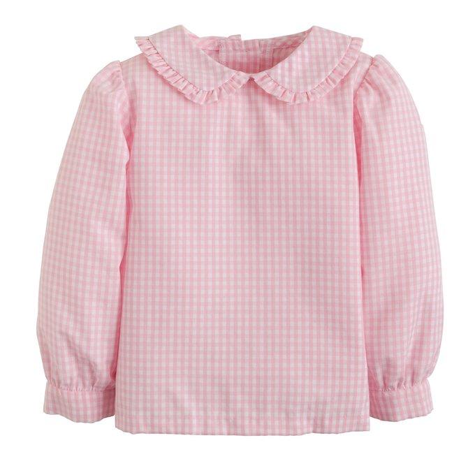 Little English Ruffled Peter Pan Blouse Pink Gingham