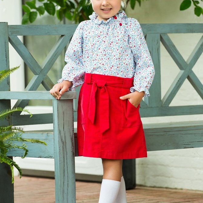 Little English Bellfield Skirt - Red Corduroy
