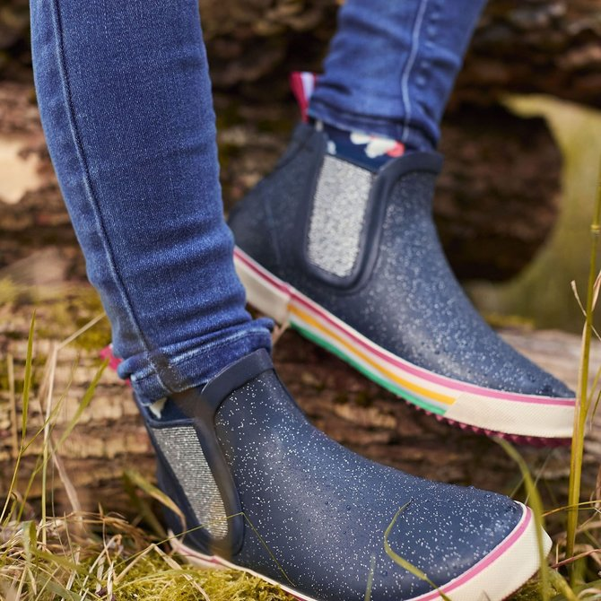 Joules Navy Glitter Short Welly