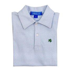 The Bailey Boys J. Bailey Longsleeve Polo - Light Blue/White Stripe