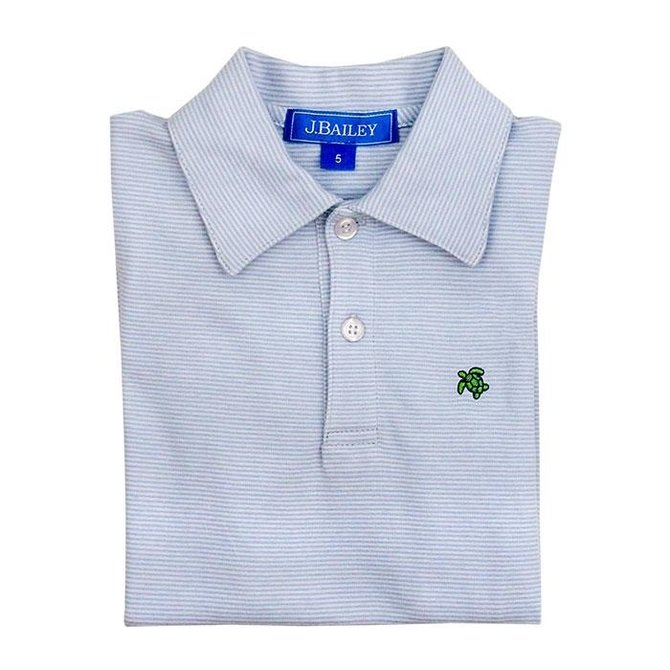 The Bailey Boys J. Bailey Longsleeve Polo - Light Blue/White Stripe