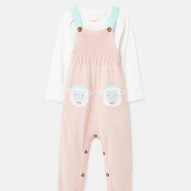Joules Knitted Dungaree Set- Girls Pink Sheep