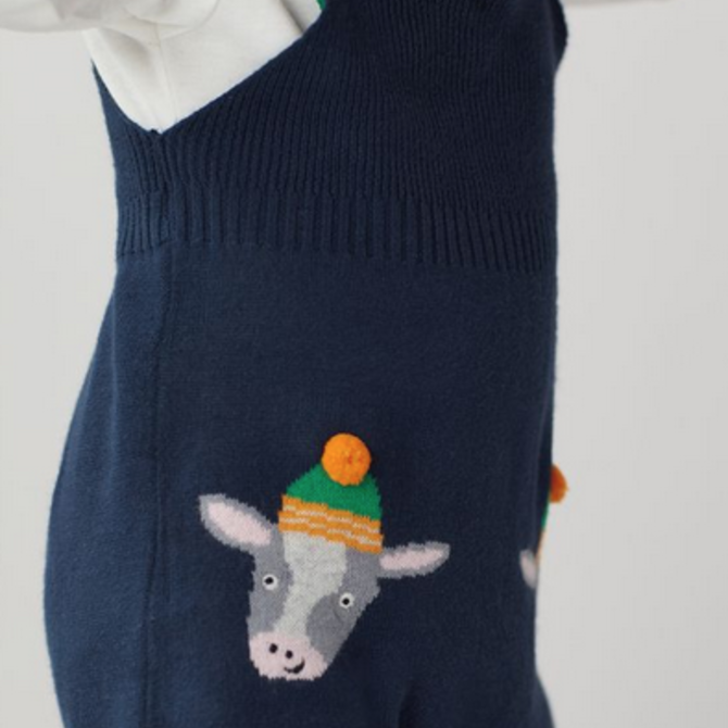 Joules Knitted Dungaree Set- Boys Navy Cow