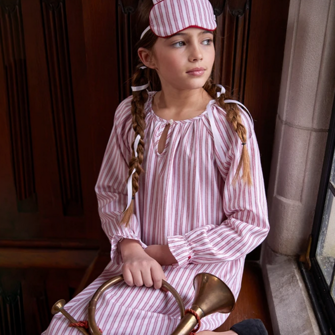 Petite Plume Antique Red Ticking Nightgown
