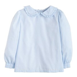 Little English Ruffled Peter Pan Blouse Blue Gingham