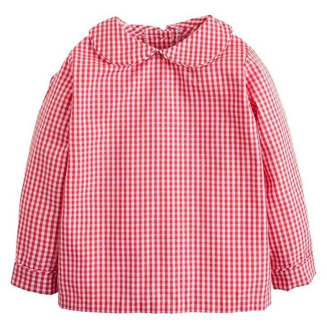 Little English Peter Pan Shirt- Red Gingham