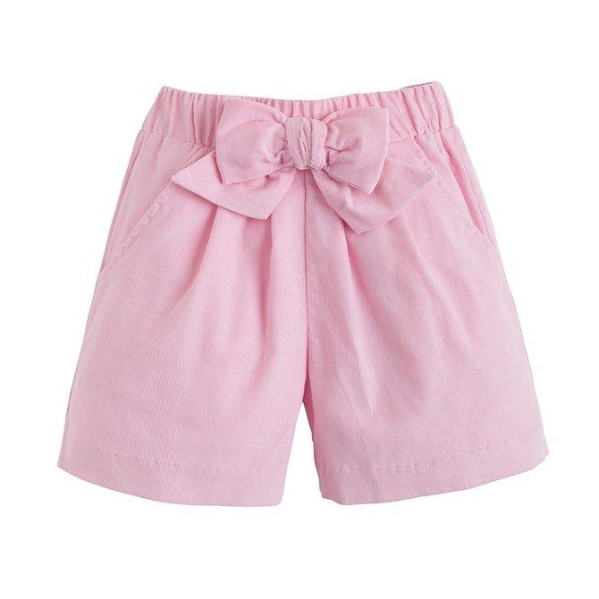 Little English Corduroy Bow Short Pink