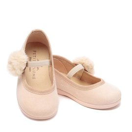 Petite Plume Delphine Slipper in Antique Rose Suede with Pom