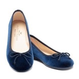 Petite Plume Juliette Slipper in Navy Suede with Pom
