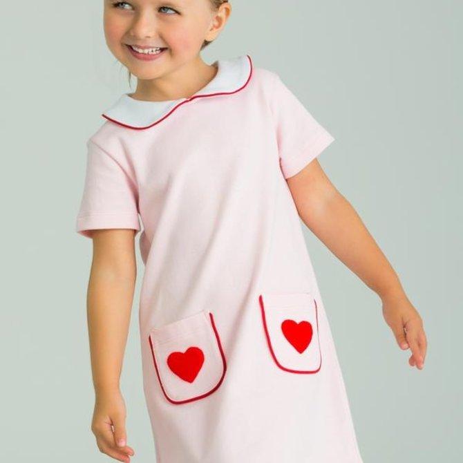 Little English Hearts Applique Dress Libby Dress