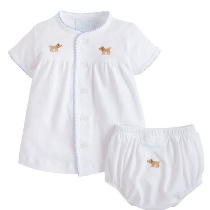 Little English Pinpoint Layette Knit Set - Lab