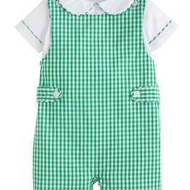 Little English Button Tab John John- Augusta Green Gingham