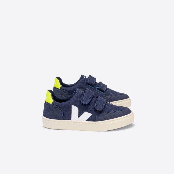 Veja Kid Sneaker Marine Jaune-Fluo