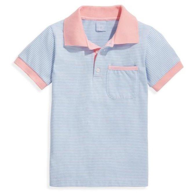 Bella Bliss Striped Jersey Ward Polo- Blue Candy Stripe