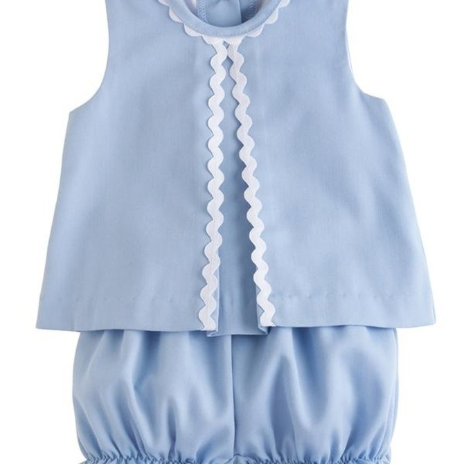 Little English Reese Bloomer Set - Light Blue Twill