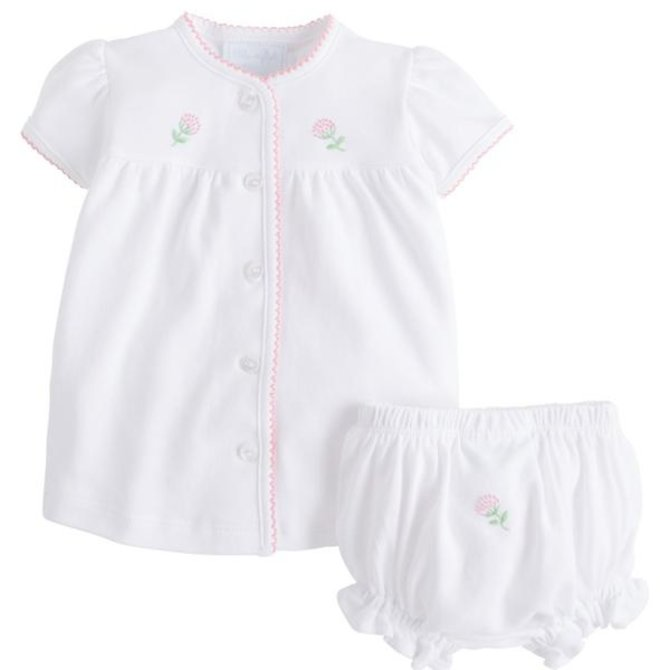Little English Pinpoint Layette Knit Set - Flowers