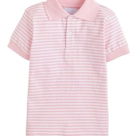 Little English Short Sleeve Striped Polo Light Pink