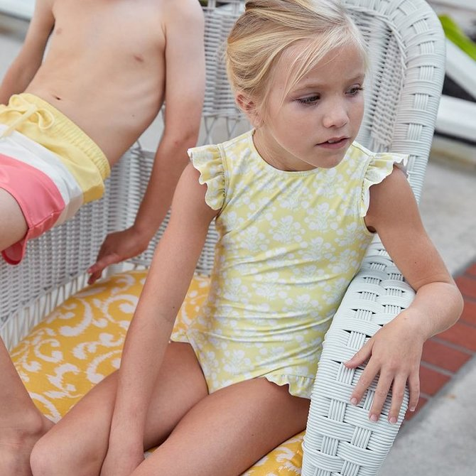Minnow Swim Girls Yellow Floral Ruffle Sleeve One Piece