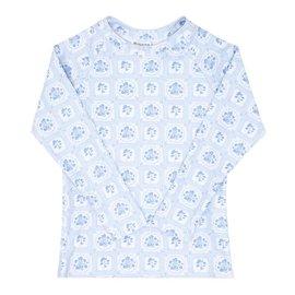 Minnow Swim Unisex Blue Mosaic Floral Rashguard