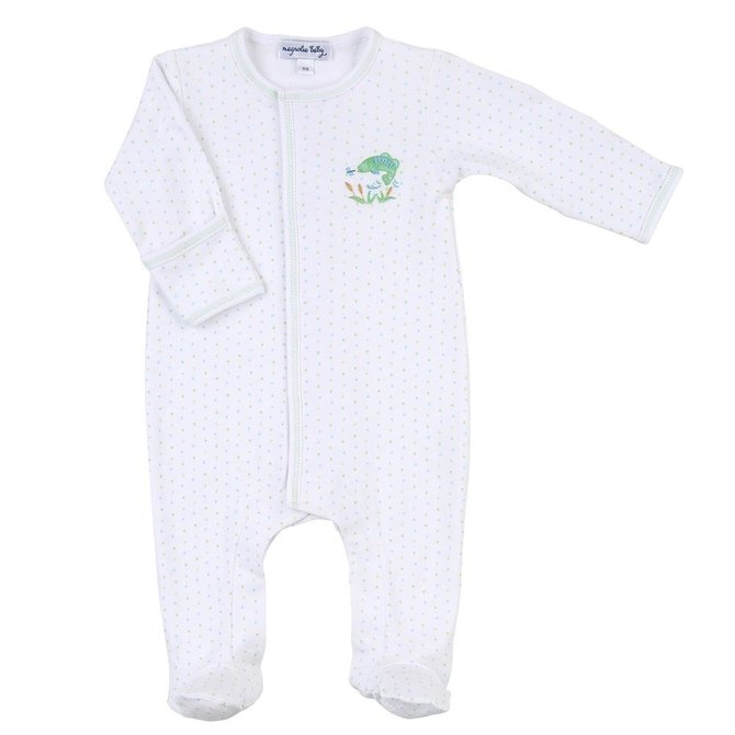 Magnolia Baby Vintage Fishing Embroidered Footie