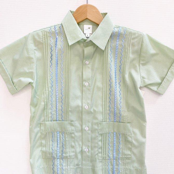 Six Honeybees Guayabera Shirt Green Stripe w Blue Stitch