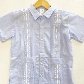 Six Honeybees Guayabera Shirt Blue/White Stripe w White Stitch