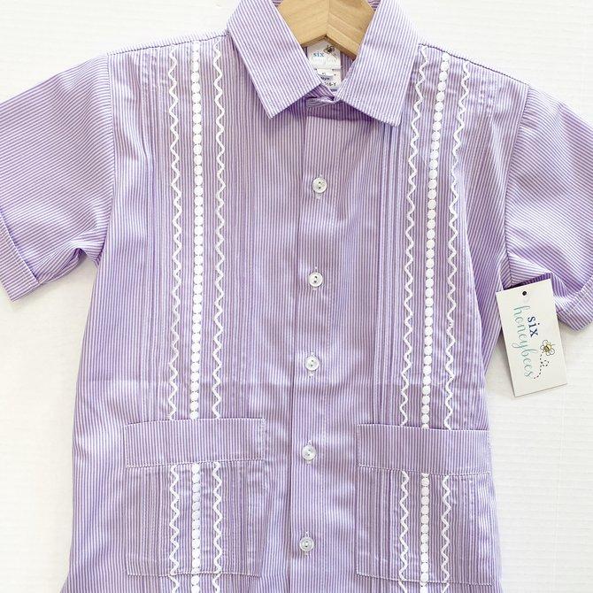 Six Honeybees Guayabera Shirt Purple/White Stripe w White Stitch