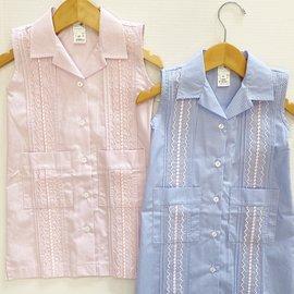 Six Honeybees Guayabera Dress Blue/White Check w/ Pink