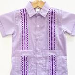 Six Honeybees Guayabera Shirt Purple/White Stripe w Purple Stitch