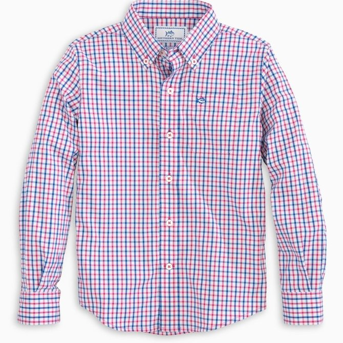 Southern Tide Boys Tattersall Performance Button Down