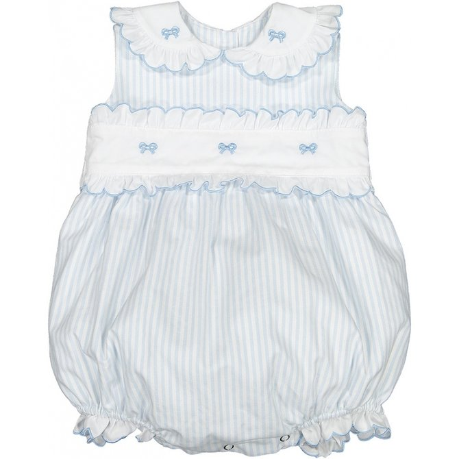 Sal and Pimenta Periwinkle Embroidered Romper