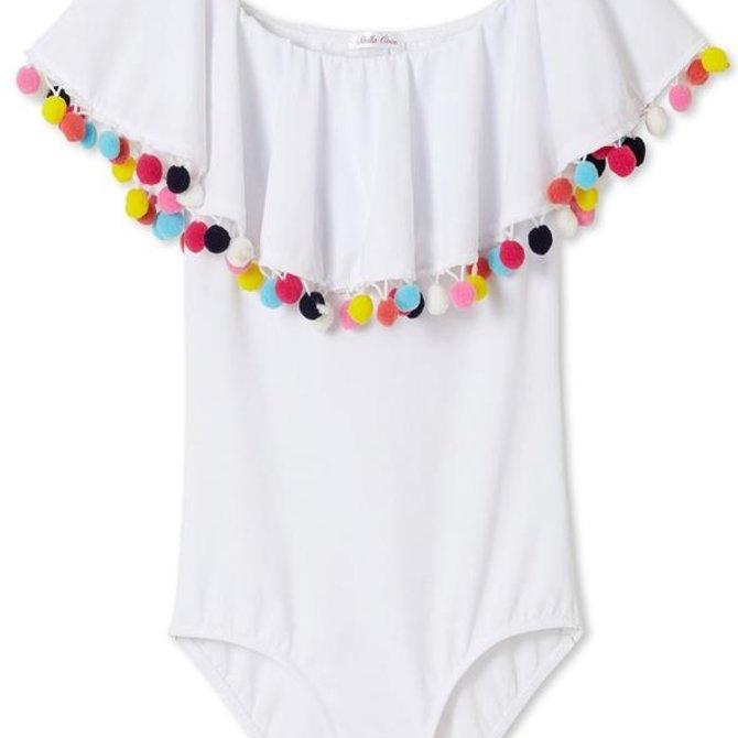 Stella Cove White Draped Swimsuit with Multicolor Pom Poms