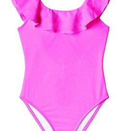 stella cove Neon Pink Ruffle Swimsuit