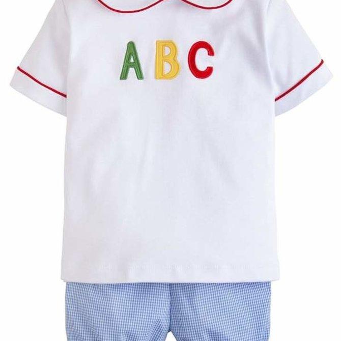 Little English ABC Applique Peter Pan Short Set