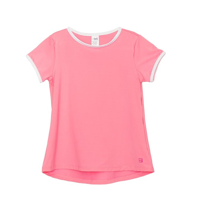 SET Athleisure Bridget Basic T- Pink w/ White
