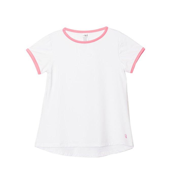SET Athleisure Bridget Basic T- White w/ Pink