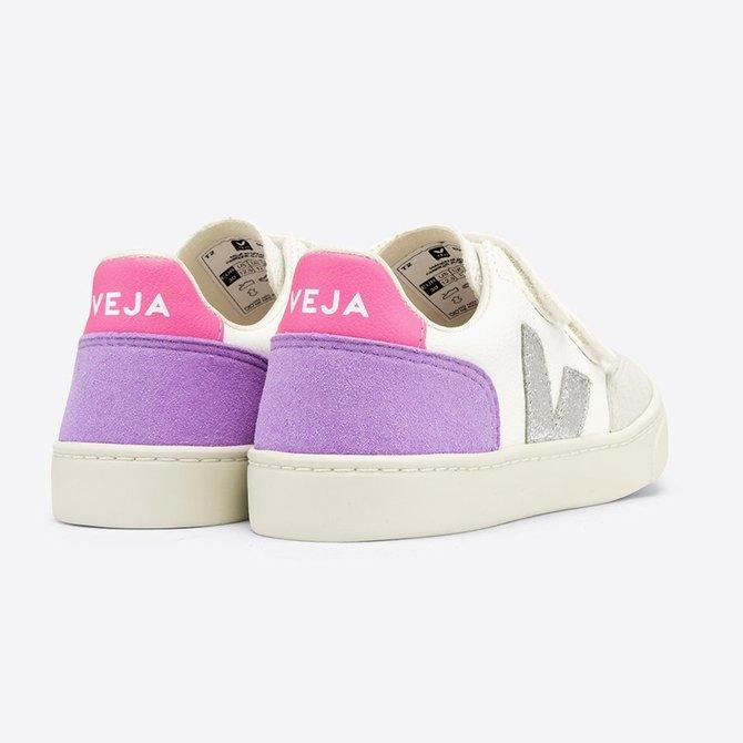 Veja Junior Sneaker Velcro Chrome White Multico Lavender