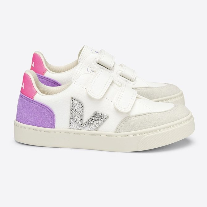 Veja Kid Sneaker Velcro Chrome White Multico Lavender