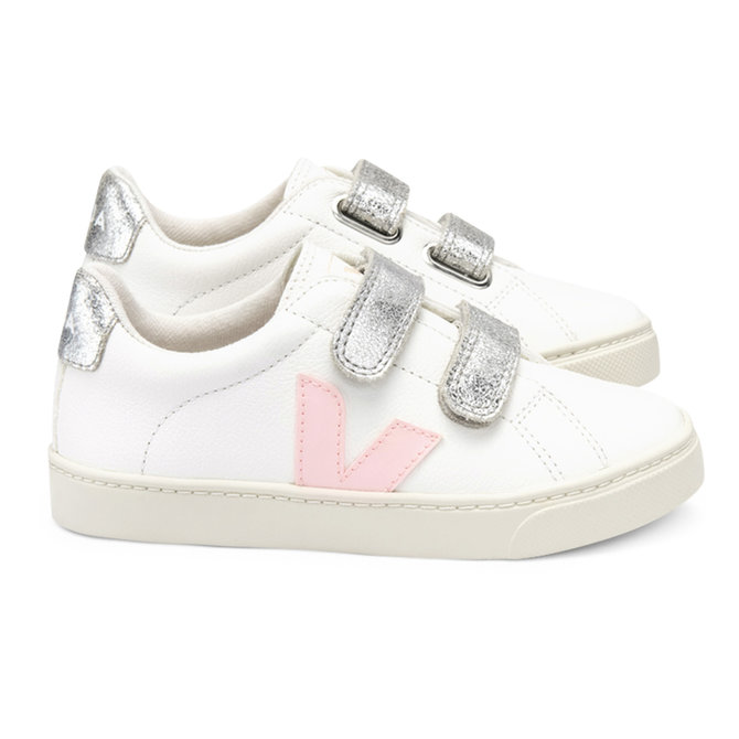 Veja Junior Sneaker Velcro Chrome White Petale Silver