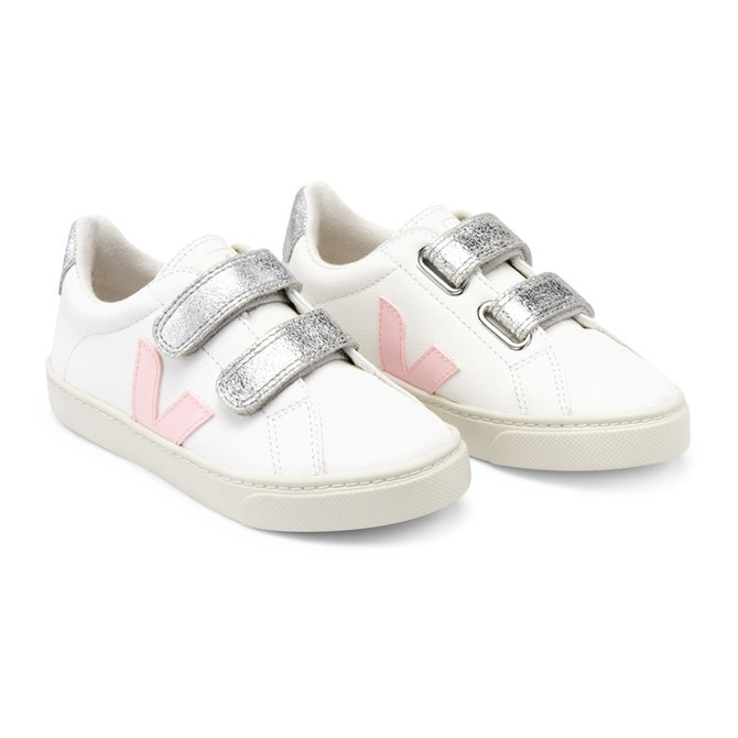 Veja Kid Sneaker Velcro Chrome White Petale Silver