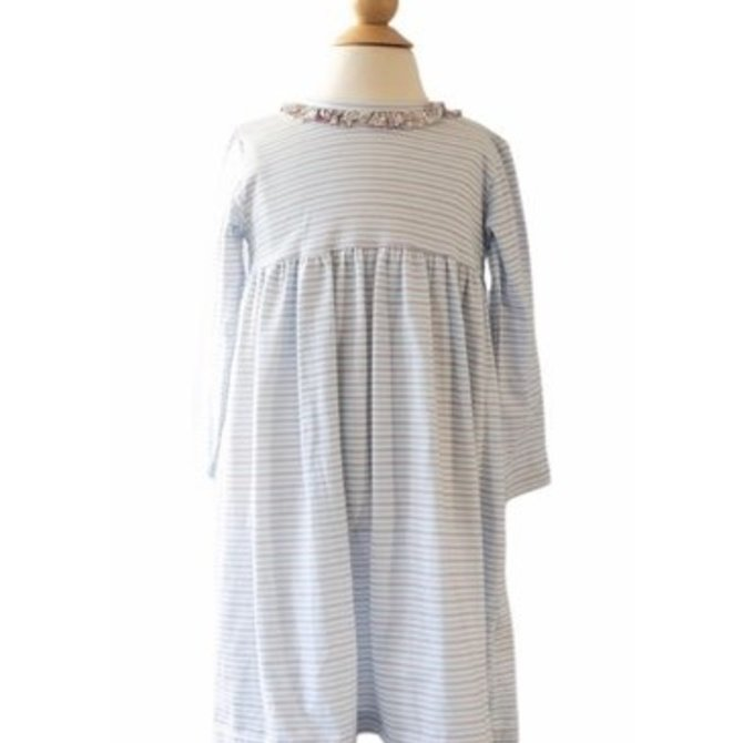 Peggy Green LS Cici Dress - Blue/Grey Stripe with Checkering Floral