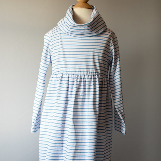 Peggy Green Cowl Neck Dress- Pink and Royal Stripe