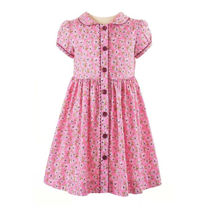 Rachel Riley Pink Floral Button Front Dress