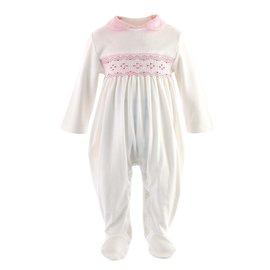 Rachel Riley Pink Smocked Babygro
