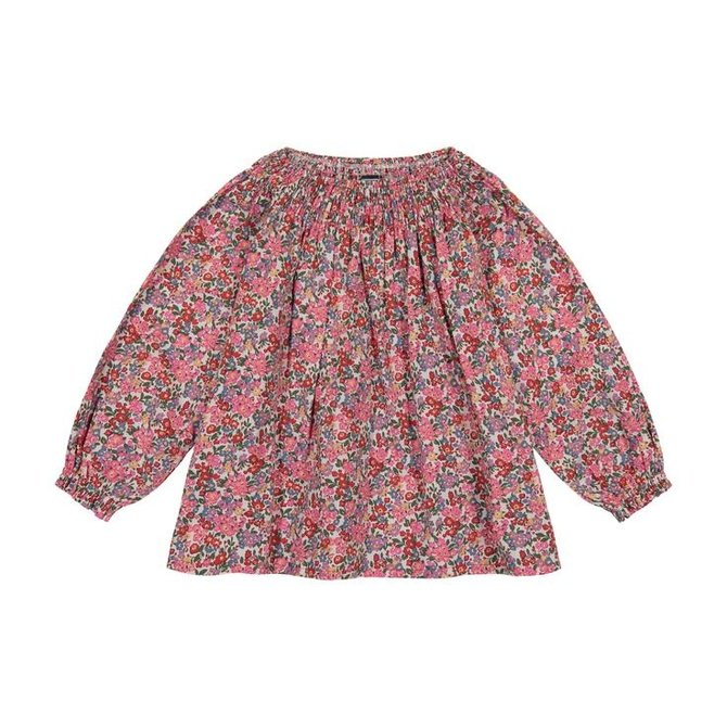 Busy Bees Georgina Smocked Neck Top- Multi Floral