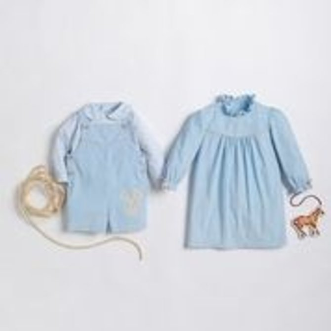 Little English McCall Shortall Set - Light Blue  Corduroy