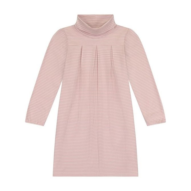 Busy Bees Suzy Turtleneck Dress- Rose Pink Stripe