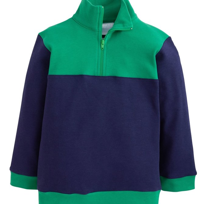 Little English Hastings Half-Zip - Boys Navy/Green