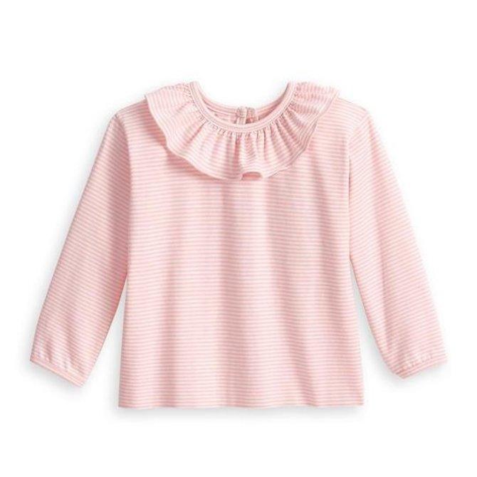 Bella Bliss Ruffled Jersey Blouse- Pink Candy Stripe