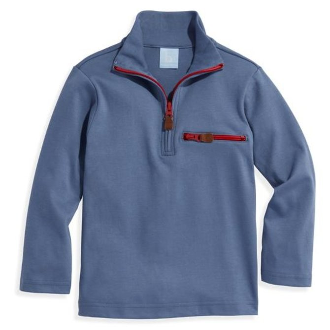 Bella Bliss Pima Half Zip with Pocket- Steel Blue